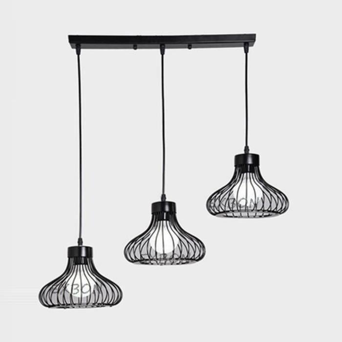 Luminaire Noir Exbon Lustre E27 Industrielle 3 Suspension Lampes ordCxeBW