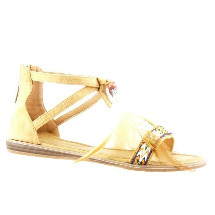 35fb9024fde Angkorly - Chaussure Mode Sandale femme pom-pom brodé Talon compensé 1.5 CM  - Camel - WH828 T 40