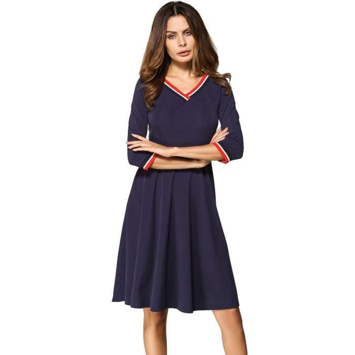 Deessesale®Femmes de mode trois quart dautomne V-cou longueur genou robe BLEU^HBY70817257BU