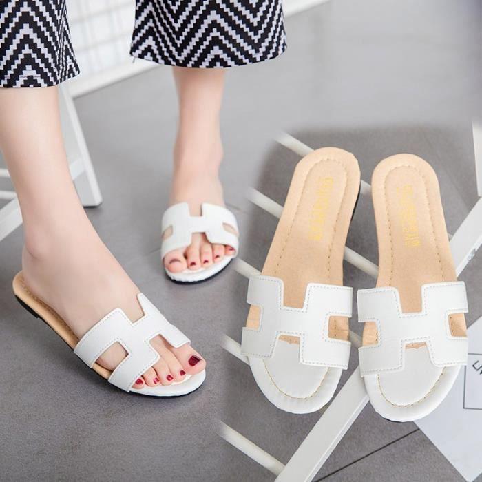 marque H dame rétro en cuir souple 4 sandales couleur chaussures Lele pantoufles chaussures d'or noir argent blanc,or,37