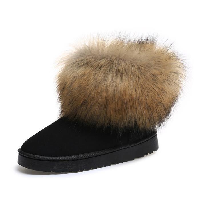 vache mode cuir gros fendu bottes de neige courte cheville filles de fourrure de renard d'hiver pour les femmes flats hiver
