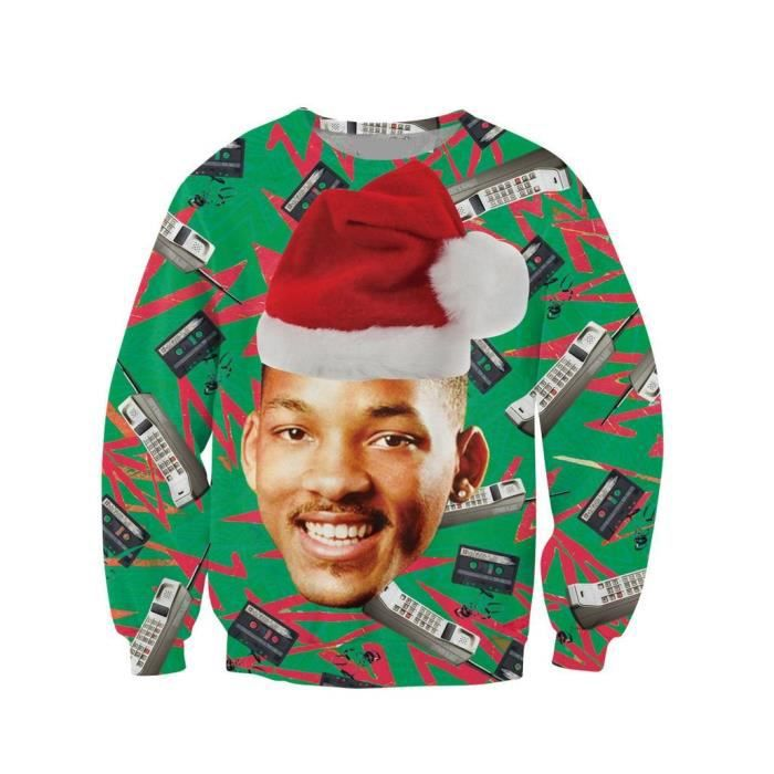 Womens Unisex Funny Print Ugly Christmas Sweater Jumper C15xs