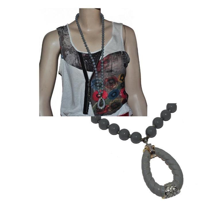 VOGUE Rare Collier vintage sautoir couleur or perles grises émail bijou
