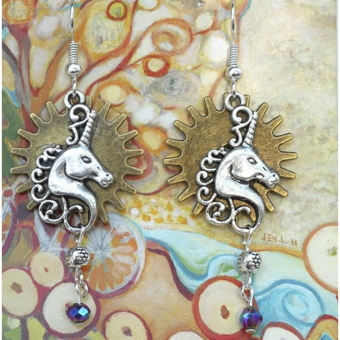 Steampunk Double Sided Femmes Unicorn Boucles doreilles W - engrenages et perles, Mythological Creature Fantaisie Amour Y3OT4