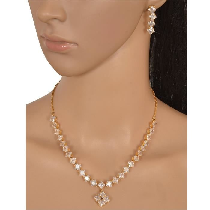 Womens Fashion Double Strand Necklace Dangle Earrings Set With Zircons For AndLS26N