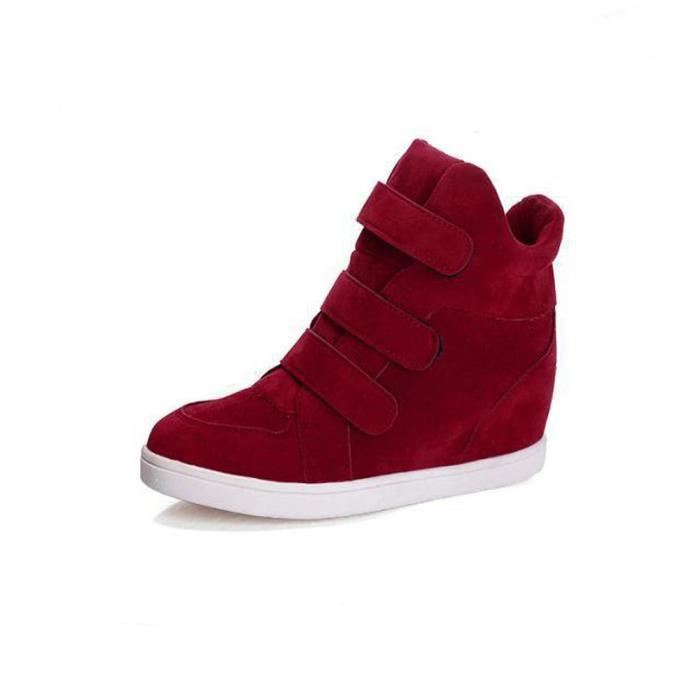 Hiver Talon Flock Souliers white Automne Red Wedge black Chaussures Femmes Caché Mode qAwFt6Exa
