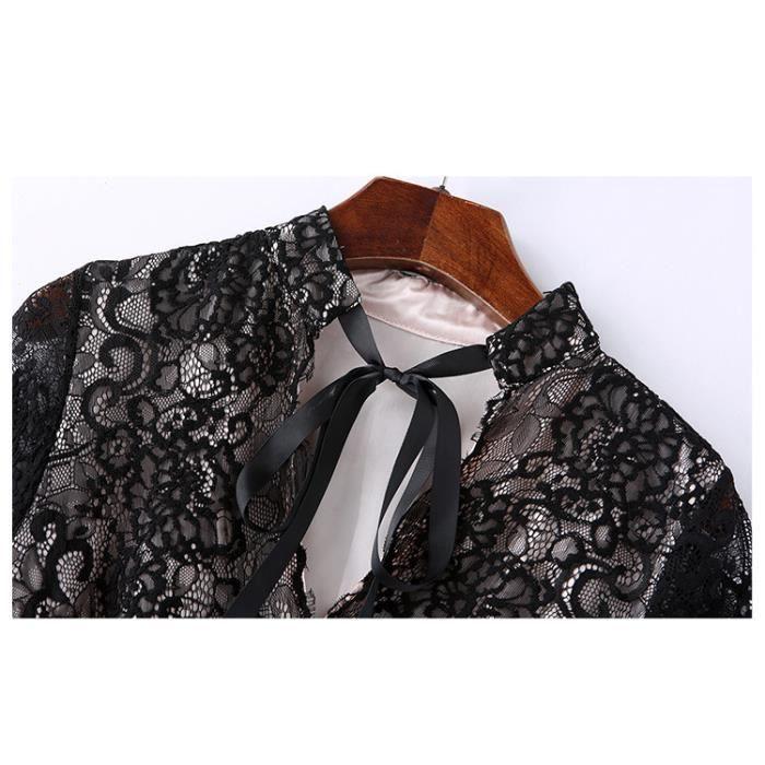 Robe femme automne manches longues en dentelle col V mode slim fit Noir SIMPLE FLAVOR