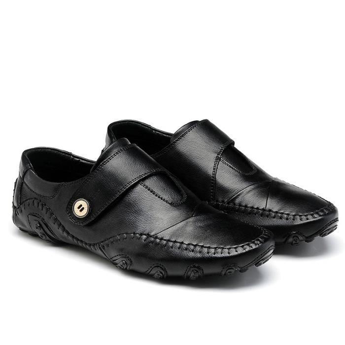 Mode Chaussures de conduite en cuir pour homme (noir, marron) Taille: 38-47,noir,43