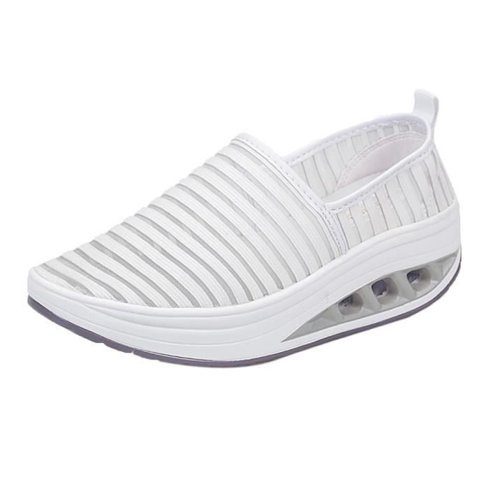 Espadrille Shake Lady Mesh Chaussures Sport Fitness forme Plate Casual Blanc De Femmes f6gpxv4