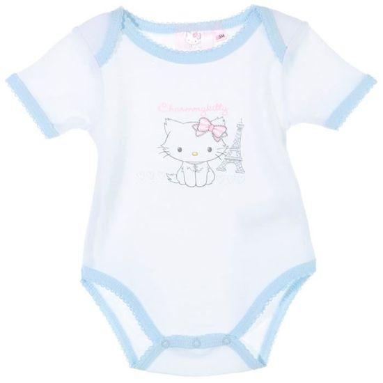 Body bébé fille manches courtes ... Blanc ciel - Achat   Vente body ... c1ef565d7a1