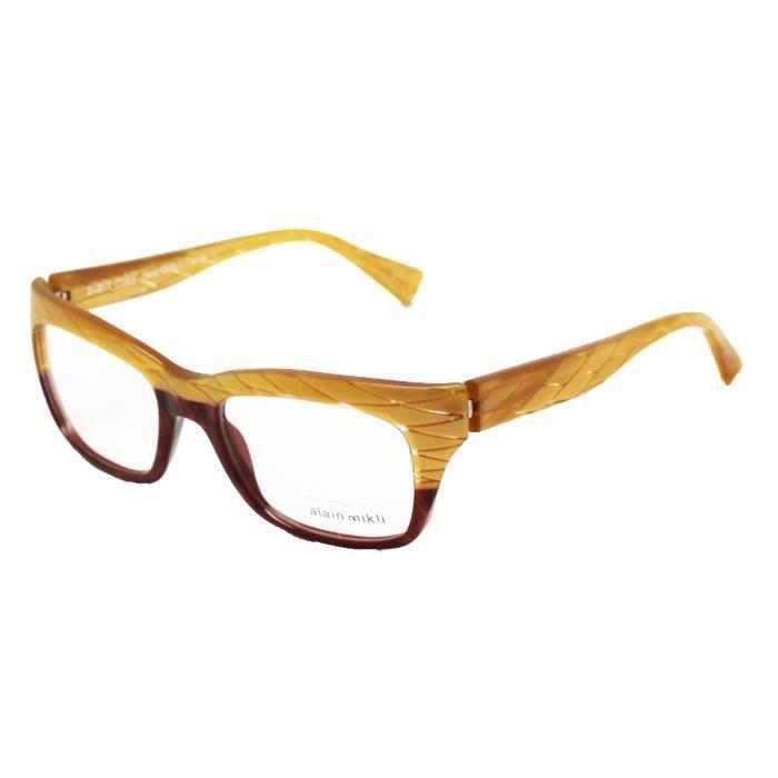 6d84c237ec7 Lunettes de Vue   Monture Optique ALAIN MIKLI AL1210 Losange dorés et  Marbré Marron