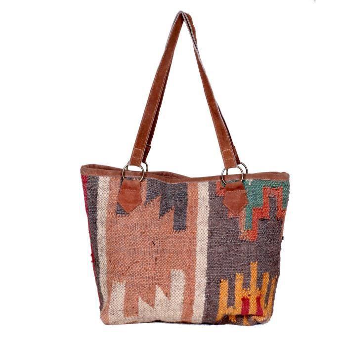 Vintage main Kilim de femmes poignée en cuir sac fourre-tout UMFA3