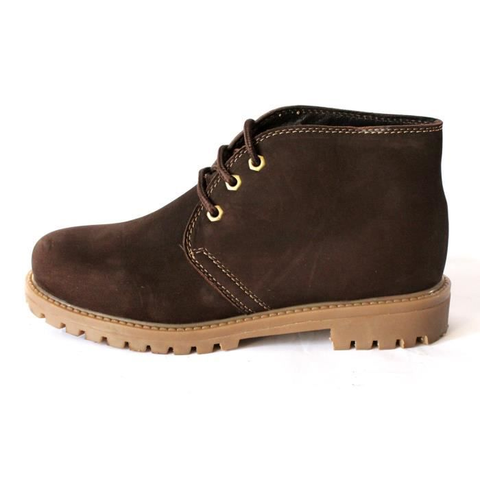BOTTES BASSES HOMME CUIR SUEDE CHOCO T 41 NEUVES