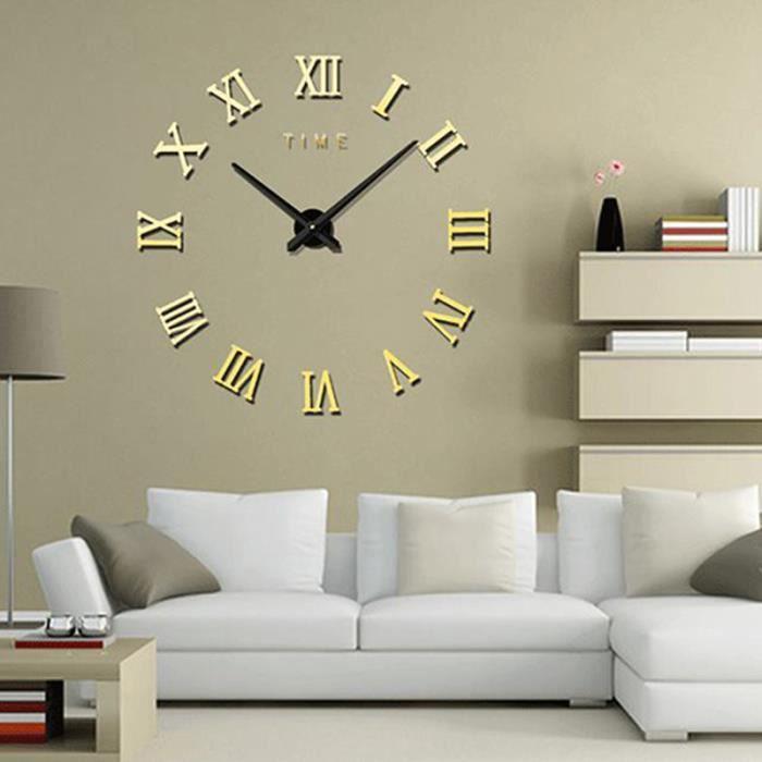 horloge murale design horloge murale silencieuse pendule murale design adh sif sticker miroir. Black Bedroom Furniture Sets. Home Design Ideas