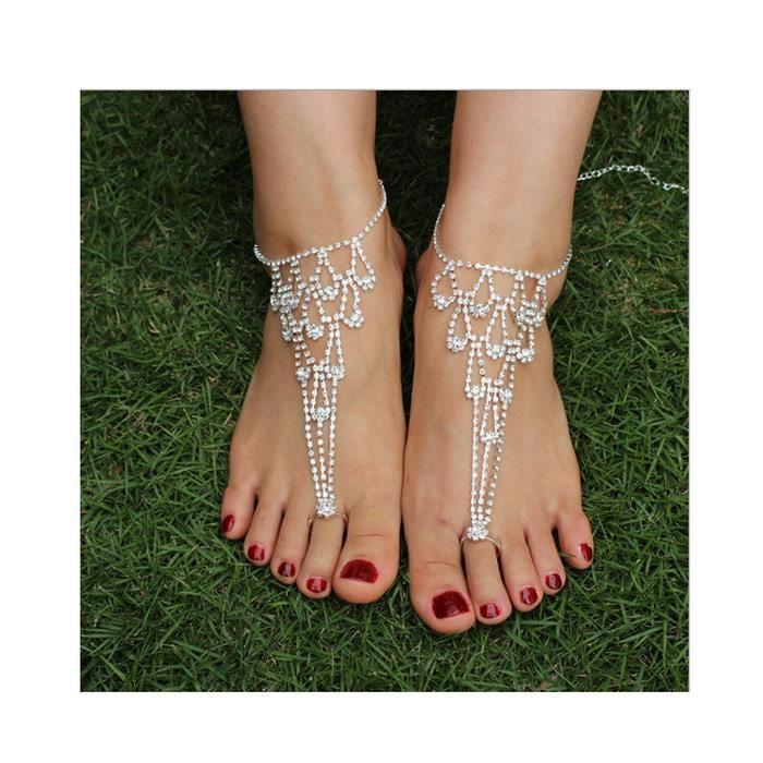 2pcs les femmes nouveau mode strass sandales aux pieds nus cheville