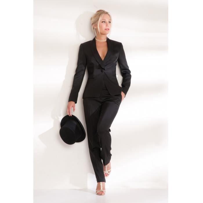 Ensemble veste pantalon noir sat... Noir - Achat   Vente ensemble de ... 995c9af0b89