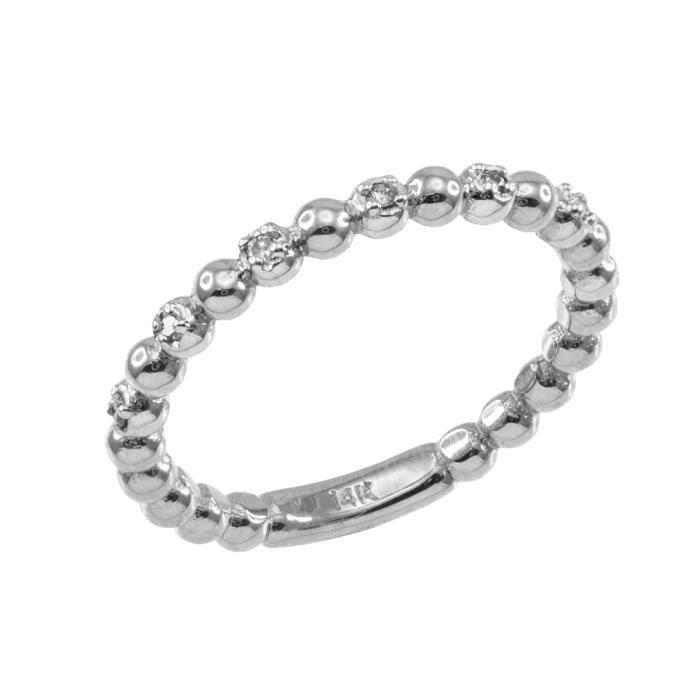Bague Femme 14 ct Or Blanc 585/1000 Boule EmpilableAvec Diamants