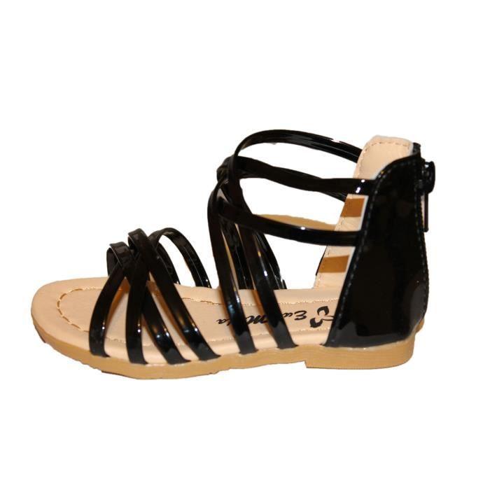 spartiates sandales fille noire brillante