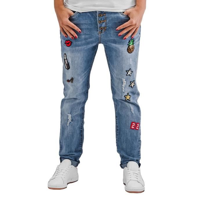Coupe Fit Badges Loose Style Jeans Femme Jean Authentic Bleu Rosie U4qIYw