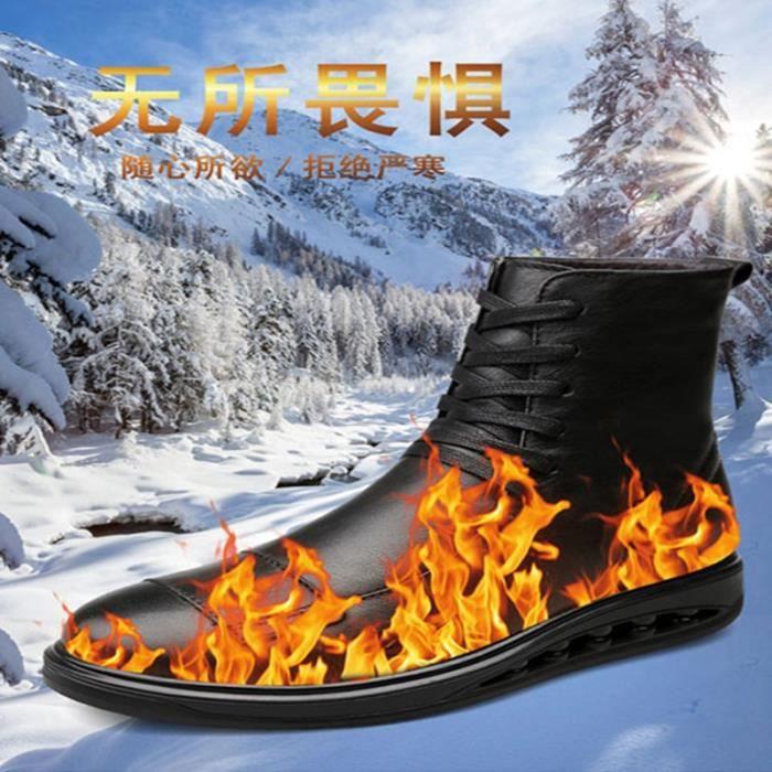 Bottes homme Bottine avec coton Bottine hiver Bottine en cuir Bottes mode Bottes chaudement