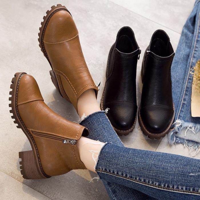 New Automne Femmes Bottes en cuir Mode pour dames Bottes moto femme Chaussures,noir,36