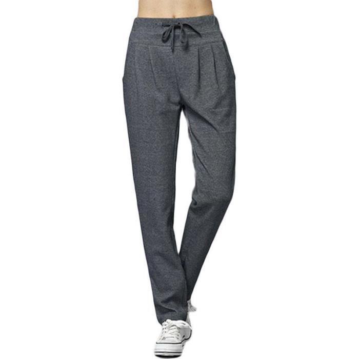 bas prix 60b64 b4c09 Pantalon Femme Coupe Droite Taille Haute Elastiquee Couleur Unie