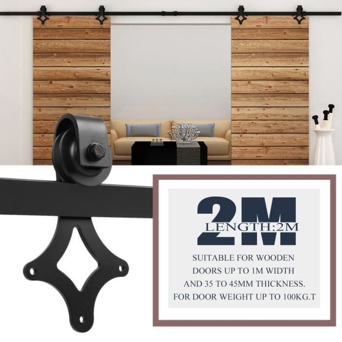 kit de roulette porte coulissante 200cm quincaillerie kit de rail roulettes pour porte coulissante pour porte  suspendue en bois(porte non inclus)