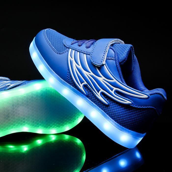 Maille enfants 7 Couleu Chaussures LED Lumineux Chaussures de Sports Baskets Garcon Fille Chaussures Sports Baskets Bleu aUsPRQ8