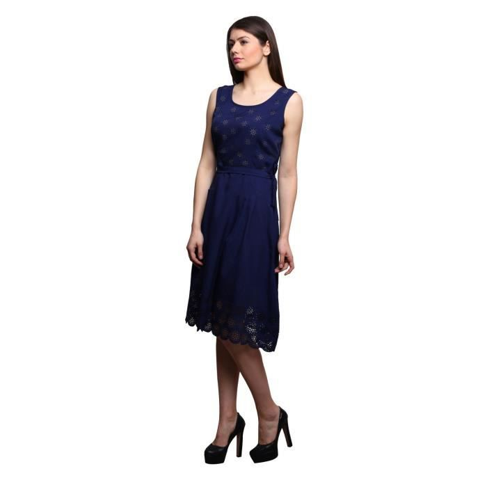 Womens Navy Blue Color Polycrepe Dress FAWCP Taille-34