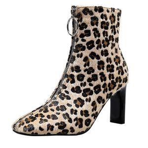 BOTTE Mode femme sexy tête carrée Leopard Chaussures tir