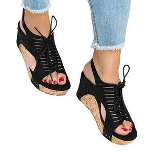 Achat A Cher Compensees Sandales Lacets Vente Pas b67gyYfv