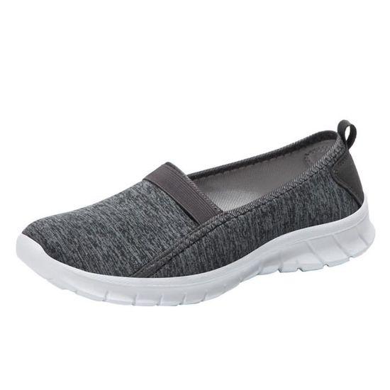 Fashion Femmes  Soft Sole Slip-on Breathable Casual Sports Shoes Lazy Shoes Gris foncé_Cu*5629  Gris foncé - Achat / Vente slip-on
