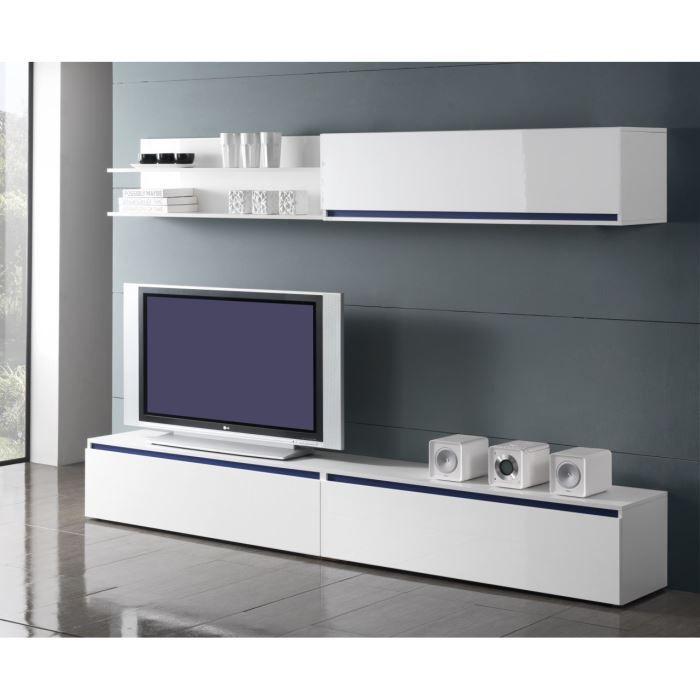 glamour séjour tv blanc 260 cm façades laquées - achat / vente