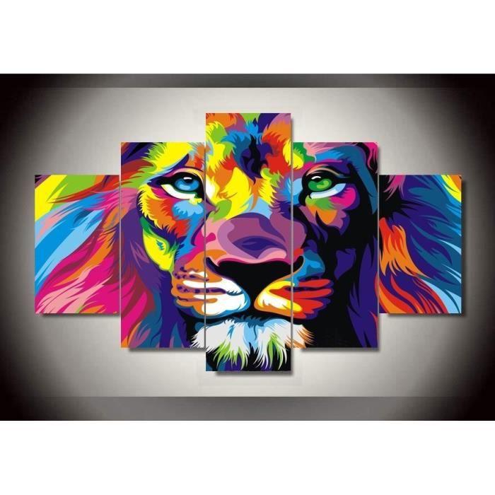 Peintures Modernes Colorées 5 piece colorée imprimer lion roi animal abstrait peinture moderne