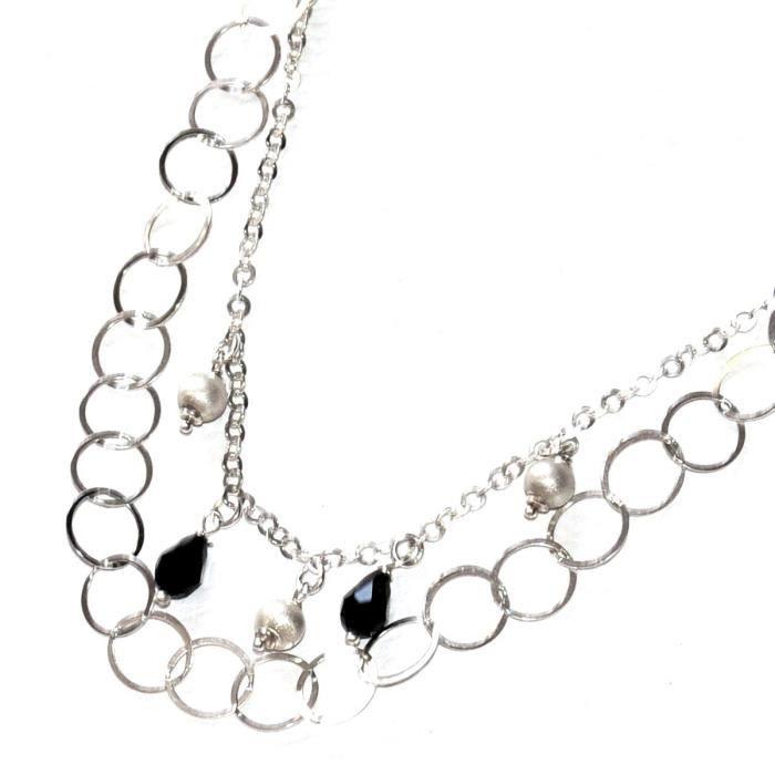Collier argent massif 925 double rang pampilles cristal noir et perles bijou