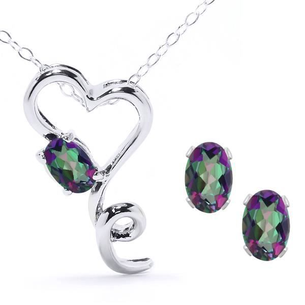 Parure en argent 925 pendentif coeur et boucles doreilles avec chaîne de 45,7 cm - Topaze Mystique - 2,45 ct