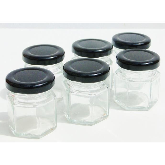 lot x6 mini pot bocaux confiture en verre avec couvercle 5cl achat vente bocaux lot x6. Black Bedroom Furniture Sets. Home Design Ideas