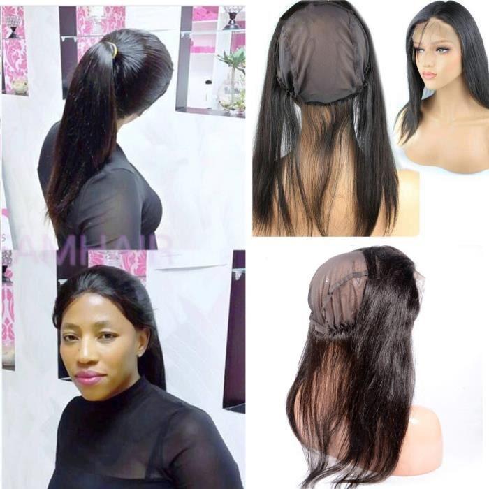 1 piece 360 lace frontal with lace band evec bonnet perruque Bresilien  cheveux humains naturel 16 Pouces Lisse
