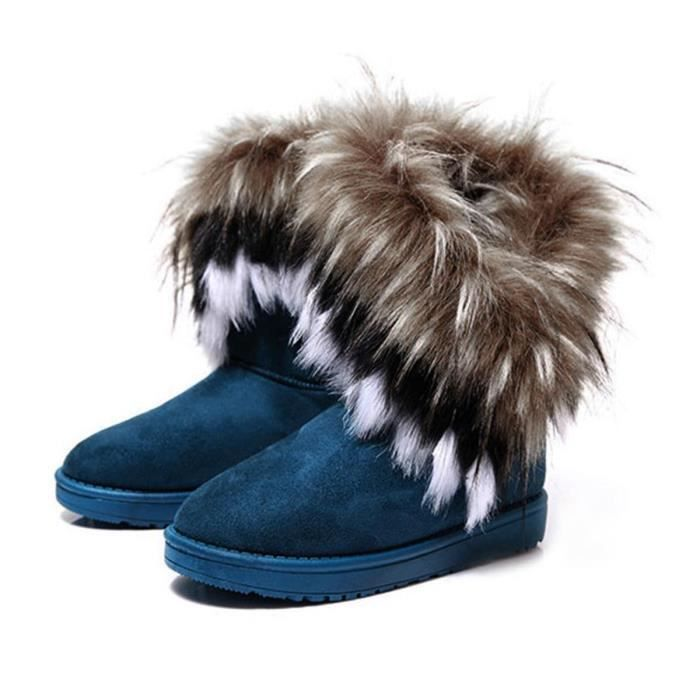 Bottinede neige en coton femme boots en cuir synthétique fausse fourrure
