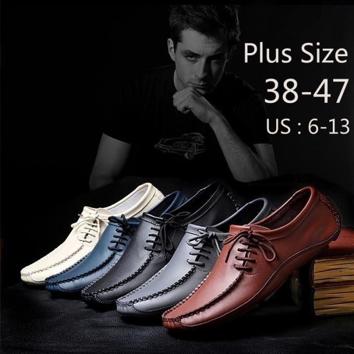MOCASSIN pour Hommegris 10 Chaussures en cuir simple d'homme Slip Shoes Chaussures de conduite_47092 pXNLLHU