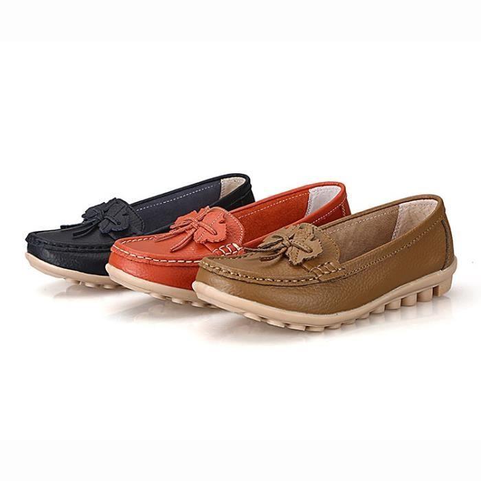 Chaussures Femme 2017 femmes en cuir véritable Chaussures plates 3 couleurs Mocassins Slip sur les femmes & # 39; s Chaussures gOayZw