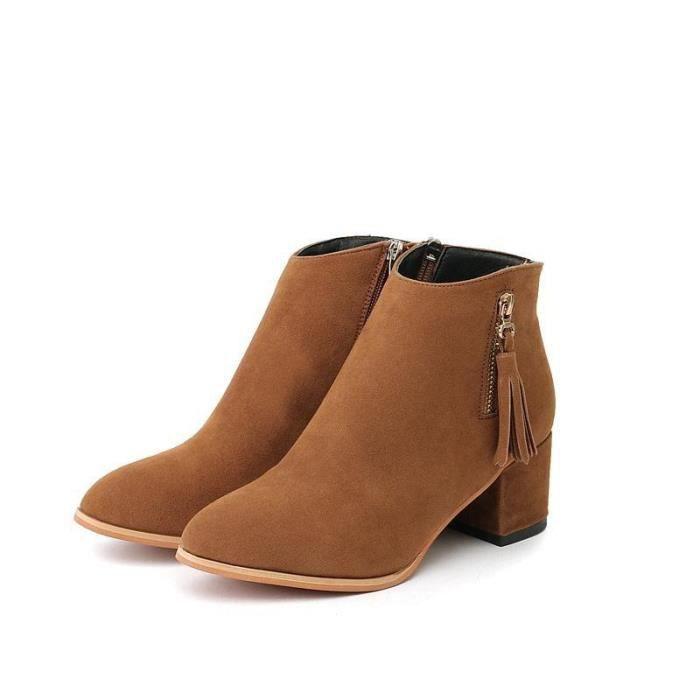 2017 automne et en hiver nouveau daim femme rude avec des bottes femmes glissière latérale bottes pompon européennes et américaines