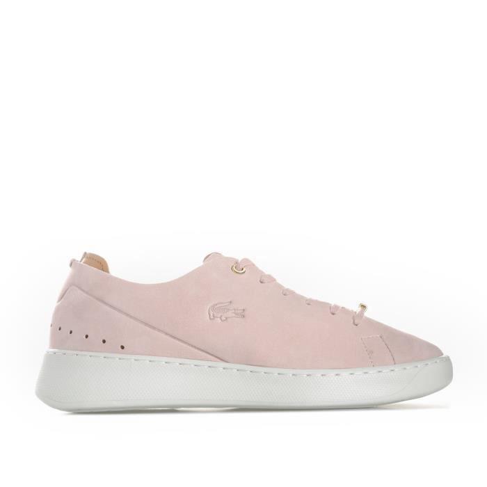 b11f26bbd7 Baskets Lacoste Eyyla Leather pour femme en rose pâle Rose Rose ...