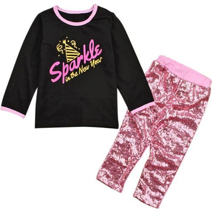 84f0e7dc0f4b6 3-8 Ans Mode Enfant Fille 2 PCS Ensemble de Vêtement   T-shirt Noir Lettre  Imprimé + Pantalon Rose à Paillettes