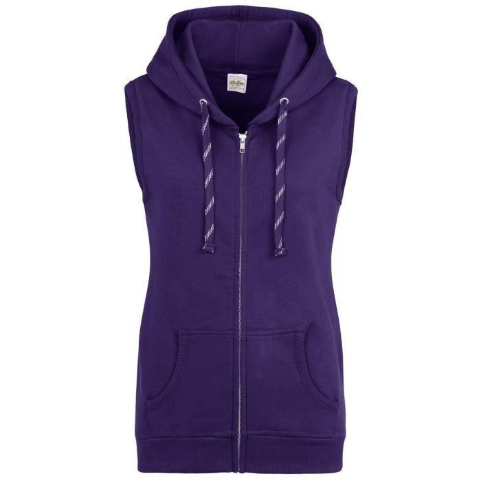 footwear great deals best sale Sweat à capuche sans manches pour femme - JH57F - violet