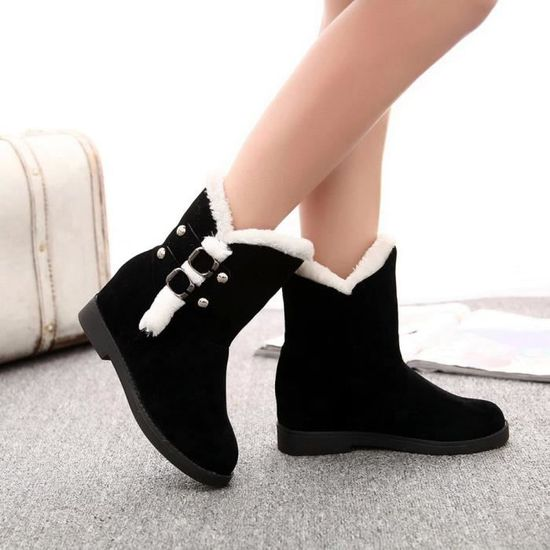 Neige Chaudes Bottes Bottines forme Femmes Chaussures Slip noir gg D'hiver De Femme Plate d5t4WWqn