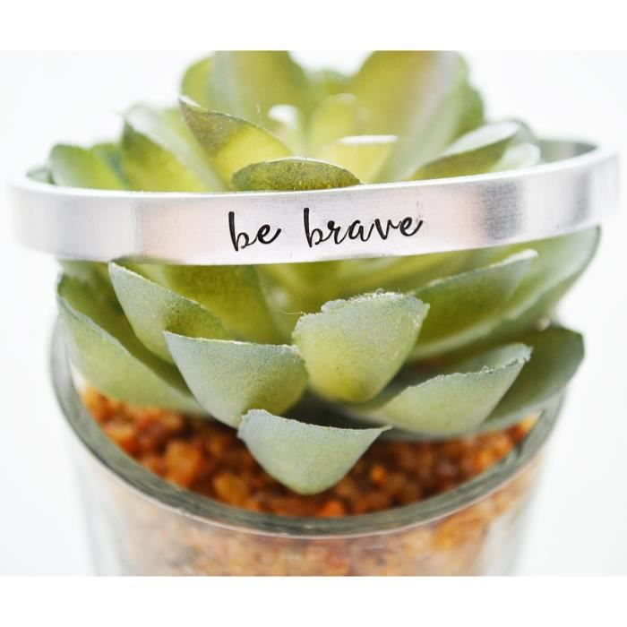 Womens Be Brave Bracelet Hand Stamped Cuff Cancer Survivor Gift For Best Friend Jewelry Inspiratio YETMN