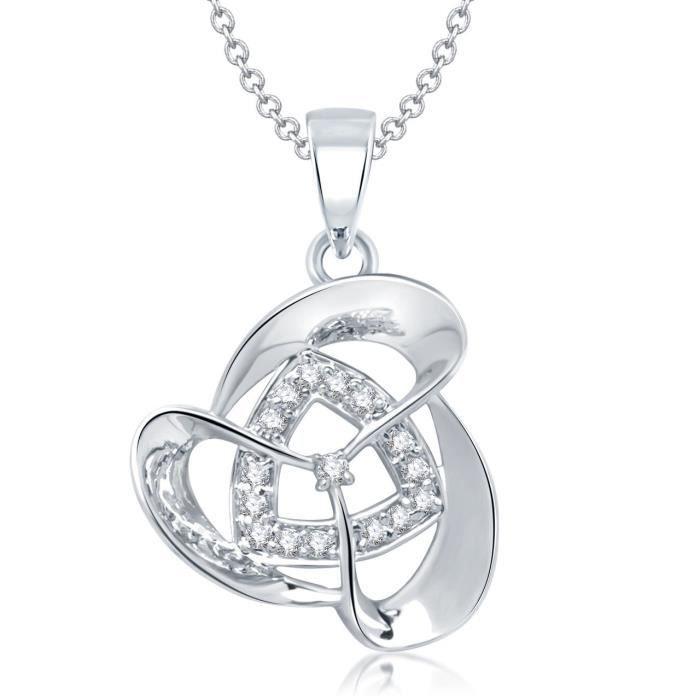 Cadeaux Saint Valentin Pendentif DESIGNER FEMME argent Cz Pendentif pour et avec Ps137 Chain ZDT3V