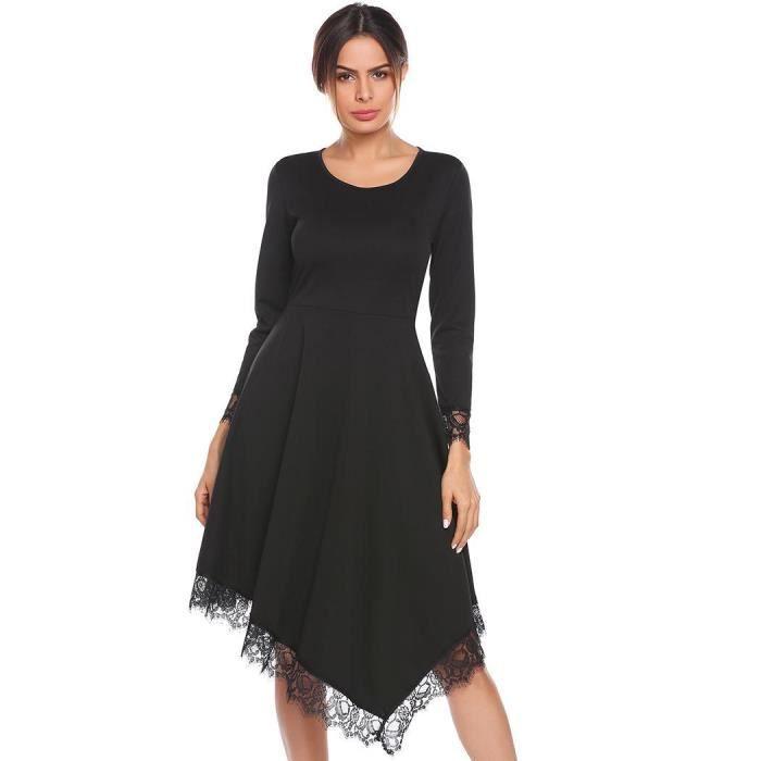 Robe de soirée femmes O-cou à manches longues en dentelle garniture coupe irrégulière