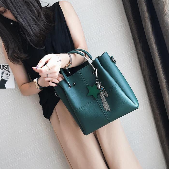 sac à main Femmes 2 pièces - set Femme Sac fourre-tout Tassel femmes femmes solides en cuir PU Sacs composites-206